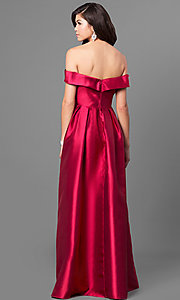 Image of off-the-shoulder long prom dress in satin. Style: LP-24395 Back Image