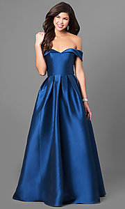 Off-the-Shoulder Long Prom Dress in Satin