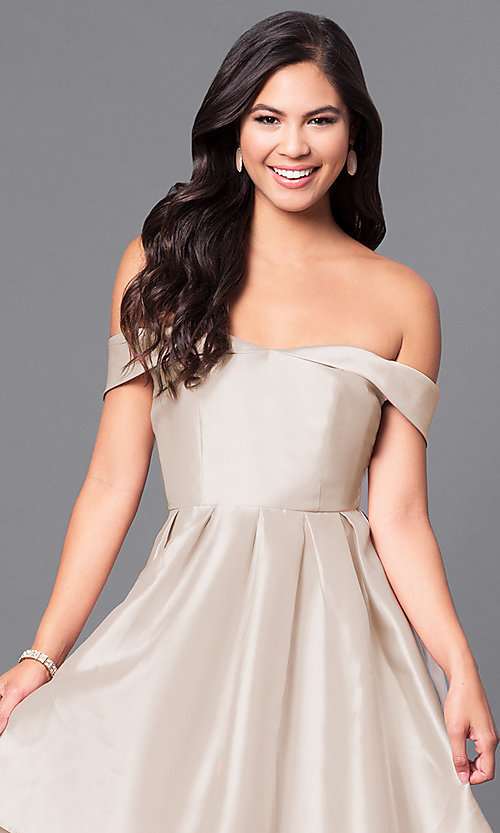 Image of off-the-shoulder long prom dress in satin. Style: LP-24395 Detail Image 3
