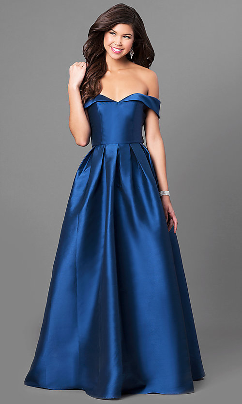 Long Off-the-Shoulder Satin Prom Dress - PromGirl