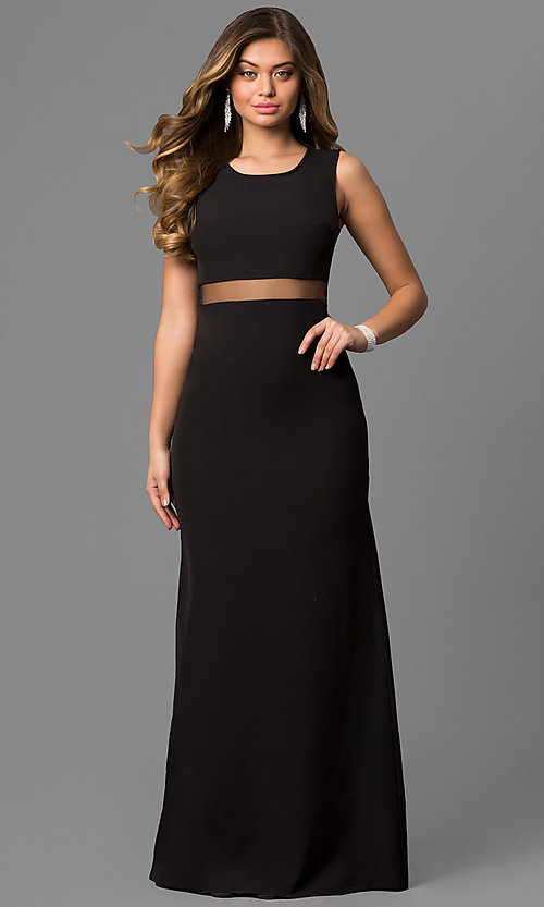 Image of long black prom dress with illusion-mesh waistline. Style: LP-24165 Detail Image 1
