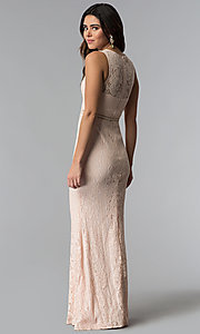 Image of pink long lace prom dress with high scoop neckline. Style: LP-24179 Back Image