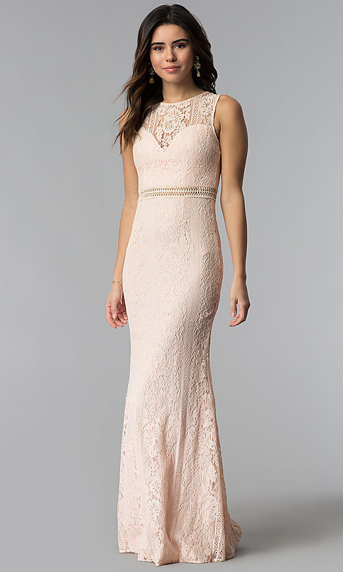 Image of pink long lace prom dress with high scoop neckline. Style: LP-24179 Front Image