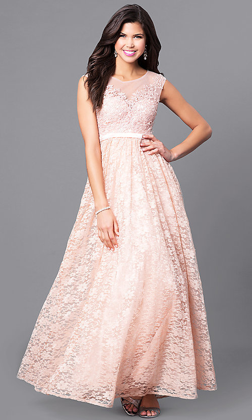 Image of long lace prom dress with illusion-lace applique. Style: LP-24061 Detail Image 2