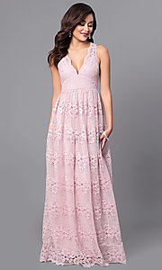 Image of a-line v-neck long lace prom dress with empire waist. Style: LP-24221 Detail Image 4