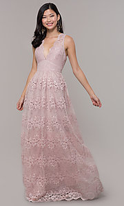 Image of a-line v-neck long lace prom dress with empire waist. Style: LP-24221 Front Image
