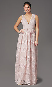 Image of a-line v-neck long lace prom dress with empire waist. Style: LP-24221 Detail Image 2