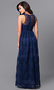Image of a-line v-neck long lace prom dress with empire waist. Style: LP-24221 Detail Image 5