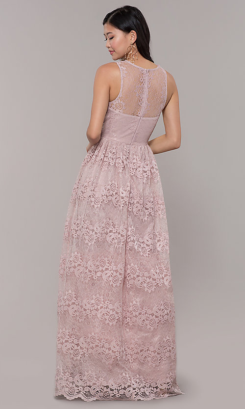 Image of a-line v-neck long lace prom dress with empire waist. Style: LP-24221 Back Image
