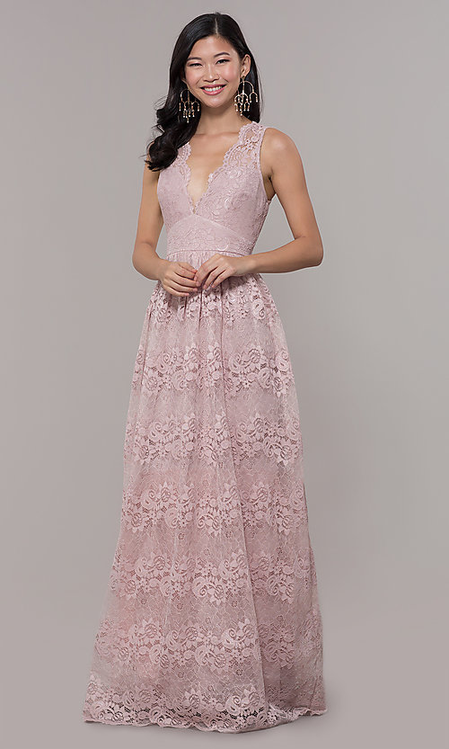 Image of a-line v-neck long lace prom dress with empire waist. Style: LP-24221 Detail Image 3