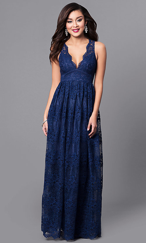 A-Line V-Neck Long Lace Prom Dress with Empire Waist