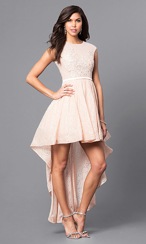 96acd155f4d9 Image of high-low lace short prom dress with back cut out. Style:
