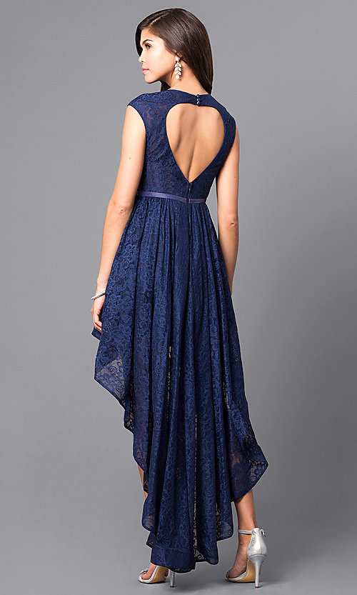 Image of high-low lace short prom dress with back cut out. Style: LP-24100 Back Image