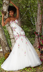 Embroidered Strapless Satin and Tulle Prom Dress