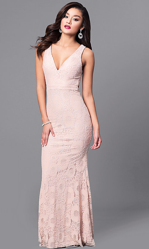 Image of v-neck long lace prom dress with back cut out. Style: LP-24161 Front Image