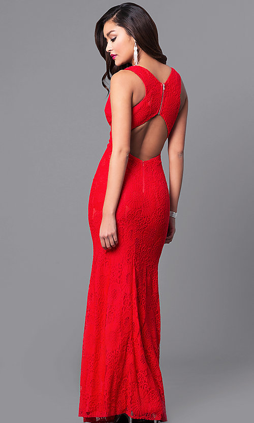 Image of v-neck long lace prom dress with back cut out. Style: LP-24161 Back Image