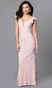 Image of long lace prom dress with flutter cap sleeves. Style: LP-24286 Detail Image 1