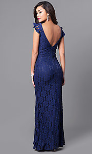 Image of long lace prom dress with flutter cap sleeves. Style: LP-24286 Back Image