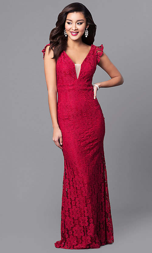 Image of long lace prom dress with flutter cap sleeves. Style: LP-24286 Detail Image 2