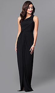 One-Shoulder Ruched Long Prom Dress with Side Slit