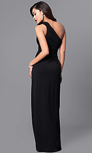 Image of one-shoulder ruched long prom dress with side slit. Style: LP-23650 Back Image