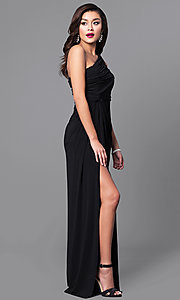 Image of one-shoulder ruched long prom dress with side slit. Style: LP-23650 Detail Image 1