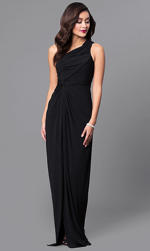 Image of one-shoulder ruched long prom dress with side slit. Style: LP-23650 Front Image