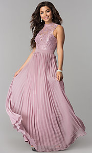 Image of long lace high-neck prom dress with pleated skirt.  Style: LP-24305 Detail Image 2