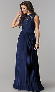 Image of long lace high-neck prom dress with pleated skirt.  Style: LP-24305 Detail Image 3