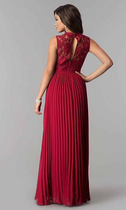 Image of long lace high-neck prom dress with pleated skirt.  Style: LP-24305 Back Image