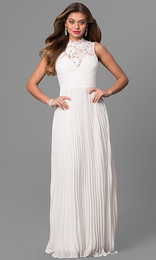 Image of long lace high-neck prom dress with pleated skirt.  Style: LP-24305 Detail Image 1