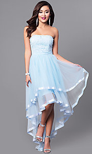 Strapless High-Low Prom Dress with Lace Bodice