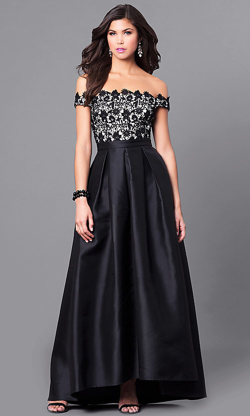85d81351e9d Image of off-the-shoulder high-low prom dress with lace. Style
