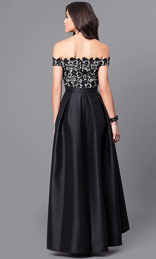 Image of off-the-shoulder high-low prom dress with lace. Style: LP-24292 Back Image