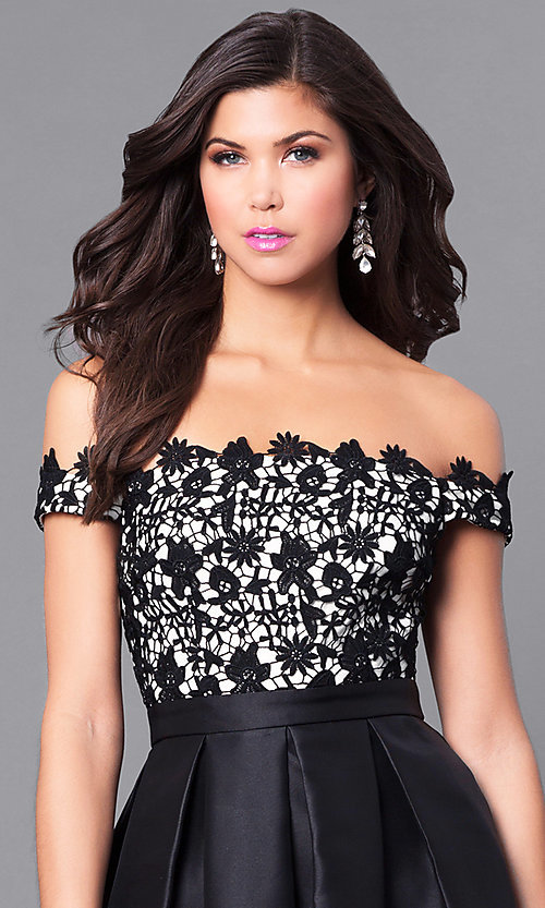 Image of off-the-shoulder high-low prom dress with lace. Style: LP-24292 Detail Image 1