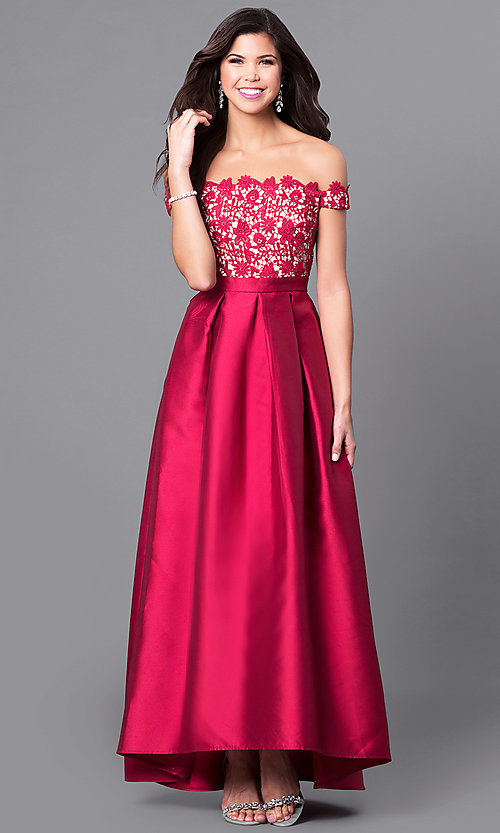 Image of off-the-shoulder high-low prom dress with lace. Style: LP-24292 Detail Image 2