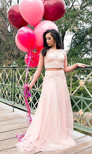 Two-Piece Long Tulle Prom Dress with Lace Applique