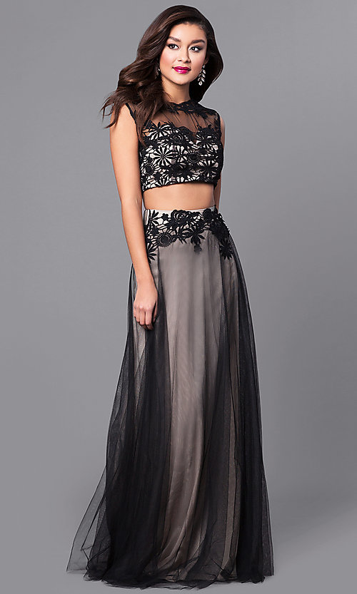 Image of two-piece long tulle prom dress with lace applique. Style: LP-90008 Detail Image 2