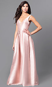 Image of long satin v-neck prom dress with box pleats. Style: LP-24262 Front Image