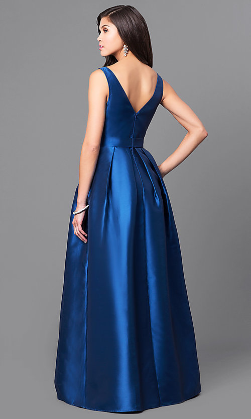 Image of long satin v-neck prom dress with box pleats. Style: LP-24262 Back Image