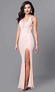 Image of long lace prom dress with slit and lace up back. Style: LP-23724 Front Image