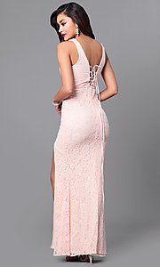 Image of long lace prom dress with slit and lace up back. Style: LP-23724 Back Image