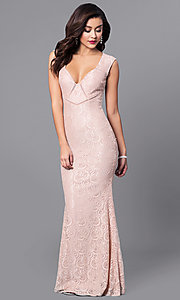 Image of elegant v-neck lace long prom dress with cut outs. Style: LP-24199 Front Image