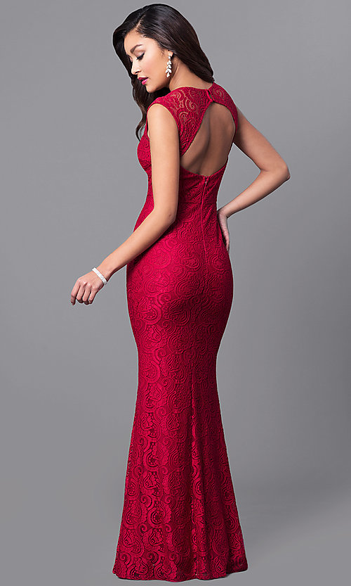 Image of elegant v-neck lace long prom dress with cut outs. Style: LP-24199 Back Image