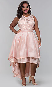 Image of plus-size high-low prom dress with illusion lace. Style: LP-24048P Detail Image 5
