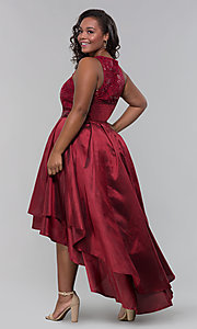Image of plus-size high-low prom dress with illusion lace. Style: LP-24048P Detail Image 3