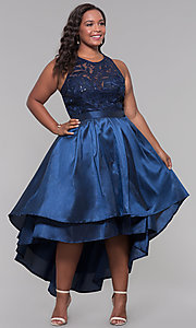 Image of plus-size high-low prom dress with illusion lace. Style: LP-24048P Front Image