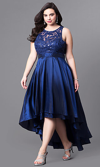 Illusion-Lace High-Low Plus-Size Prom Dress-PromGirl