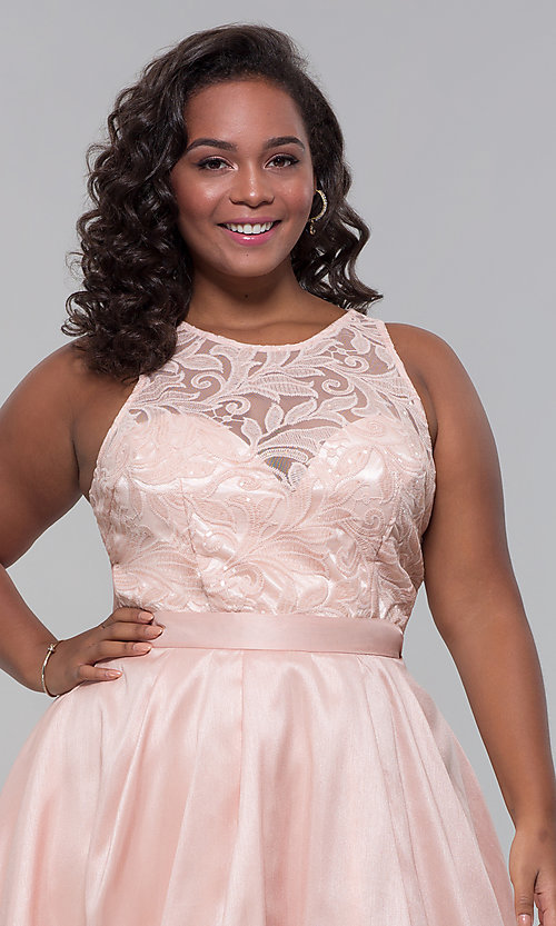 Image of plus-size high-low prom dress with illusion lace. Style: LP-24048P Detail Image 7