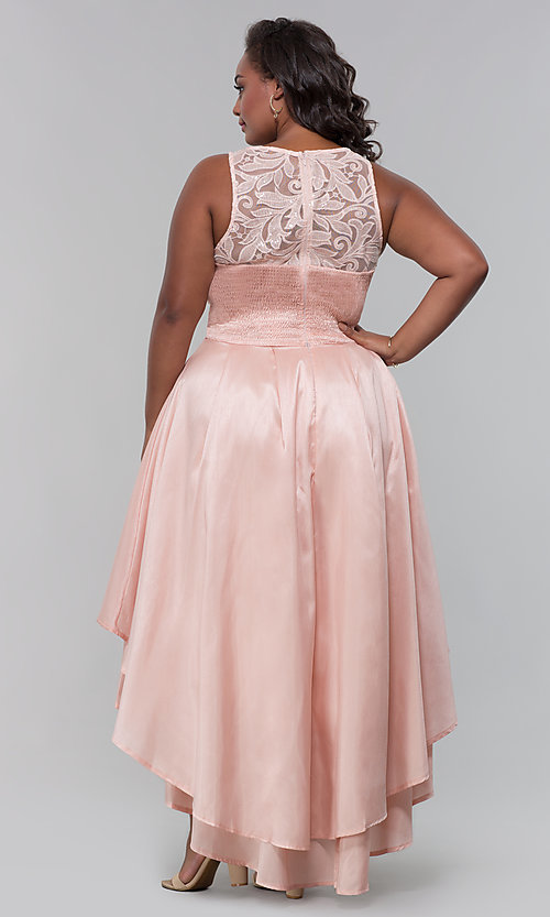 Image of plus-size high-low prom dress with illusion lace. Style: LP-24048P Detail Image 6